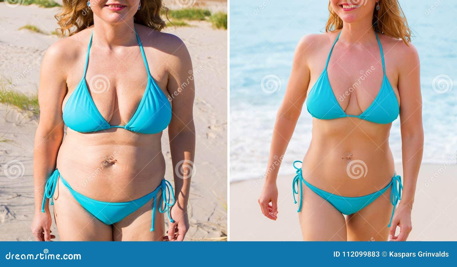 Femme avant et après le succès de perte de poids