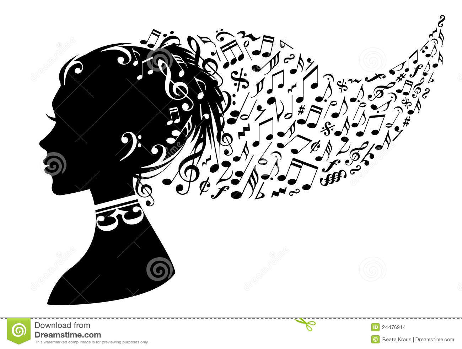 femme avec des notes de musique  vecteur illustration de
