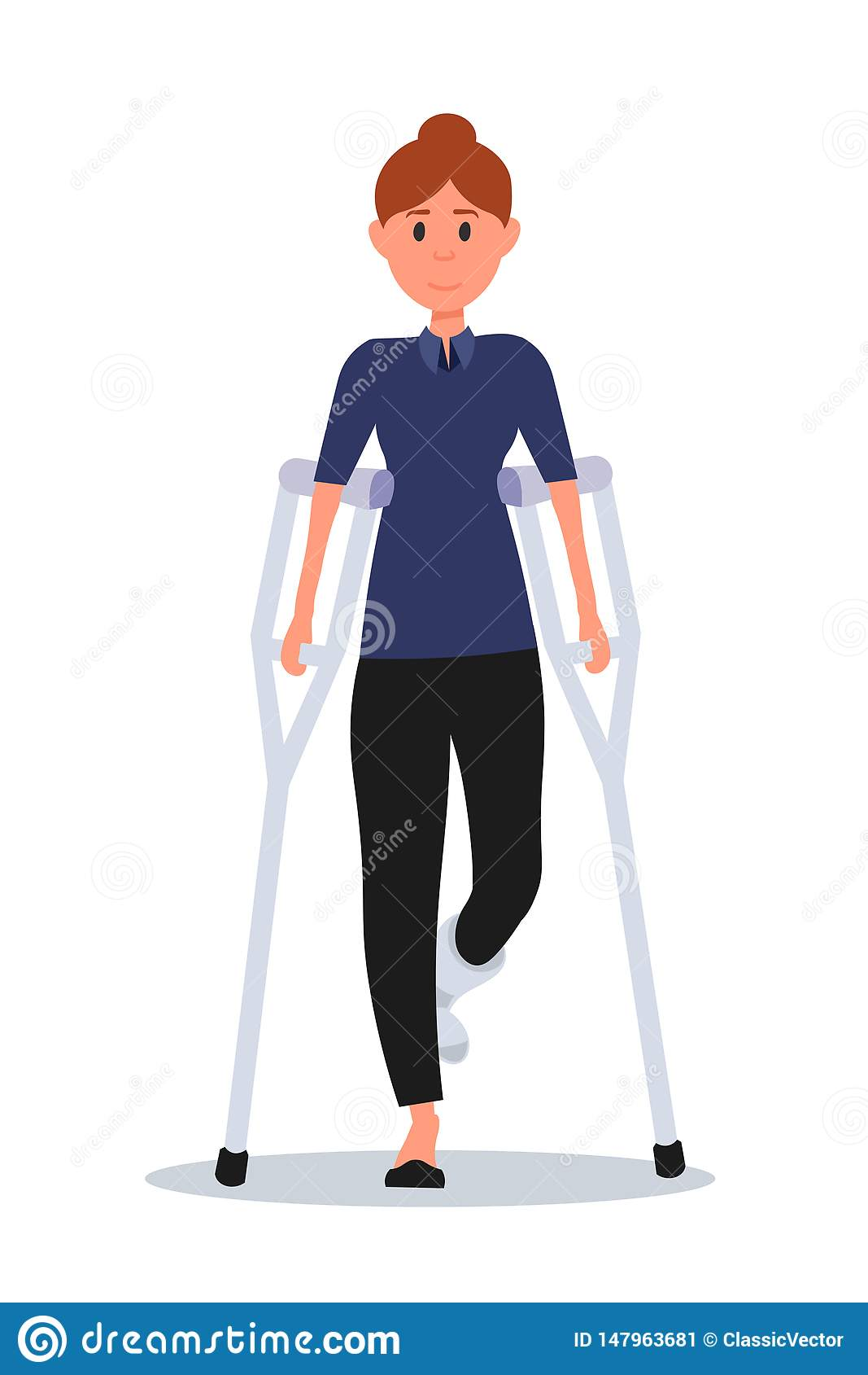 Femme avec l illustration plate de vecteur de jambe cassée