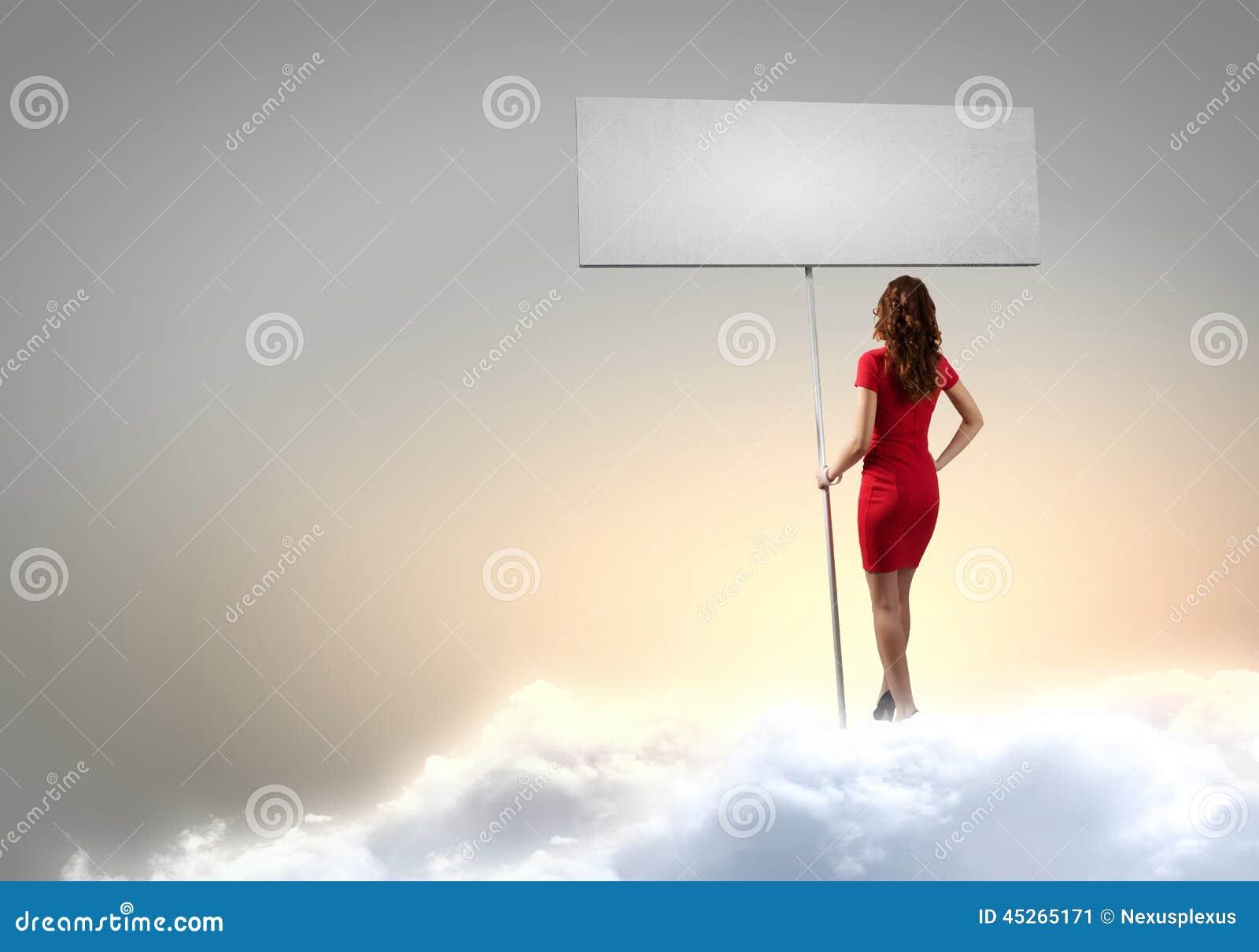 Femme avec la bannière