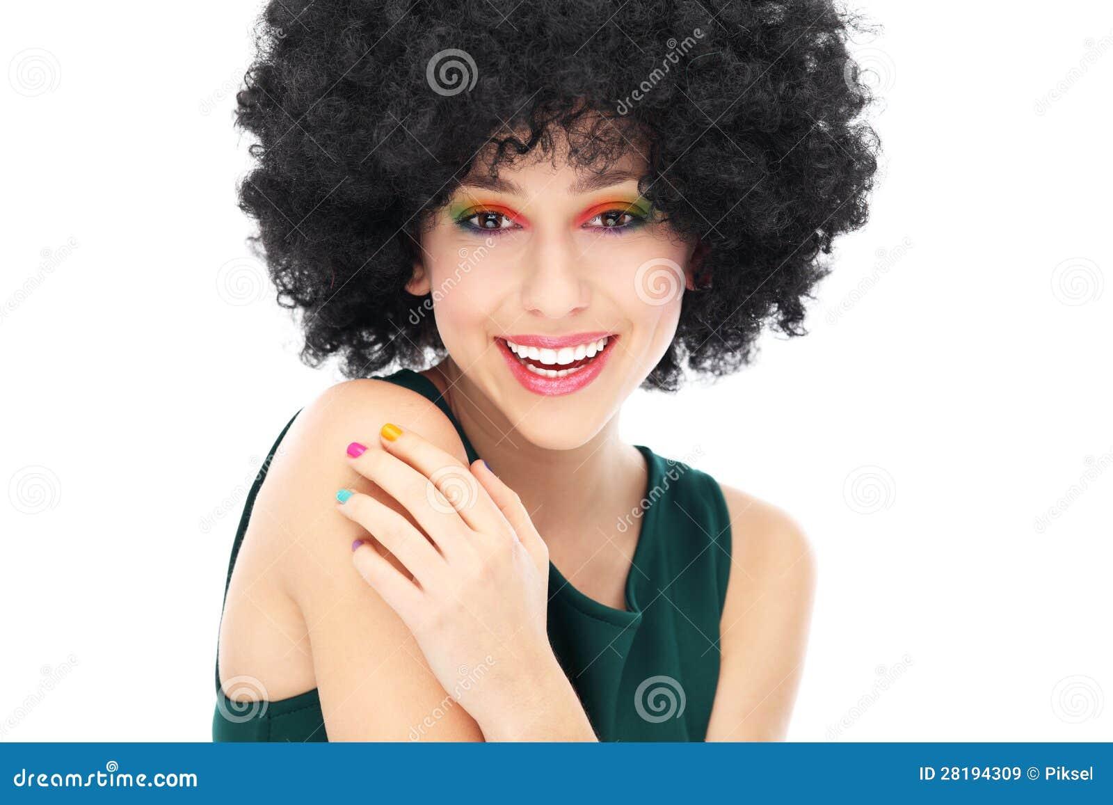 femme avec la coiffure afro noire images libres de droits image 28194309. Black Bedroom Furniture Sets. Home Design Ideas