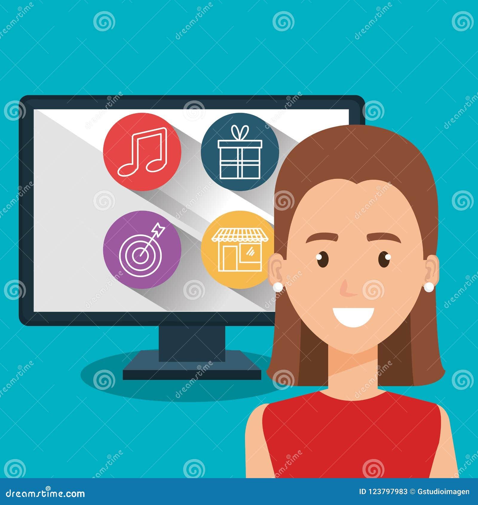 Femme avec le caractère d ordinateur