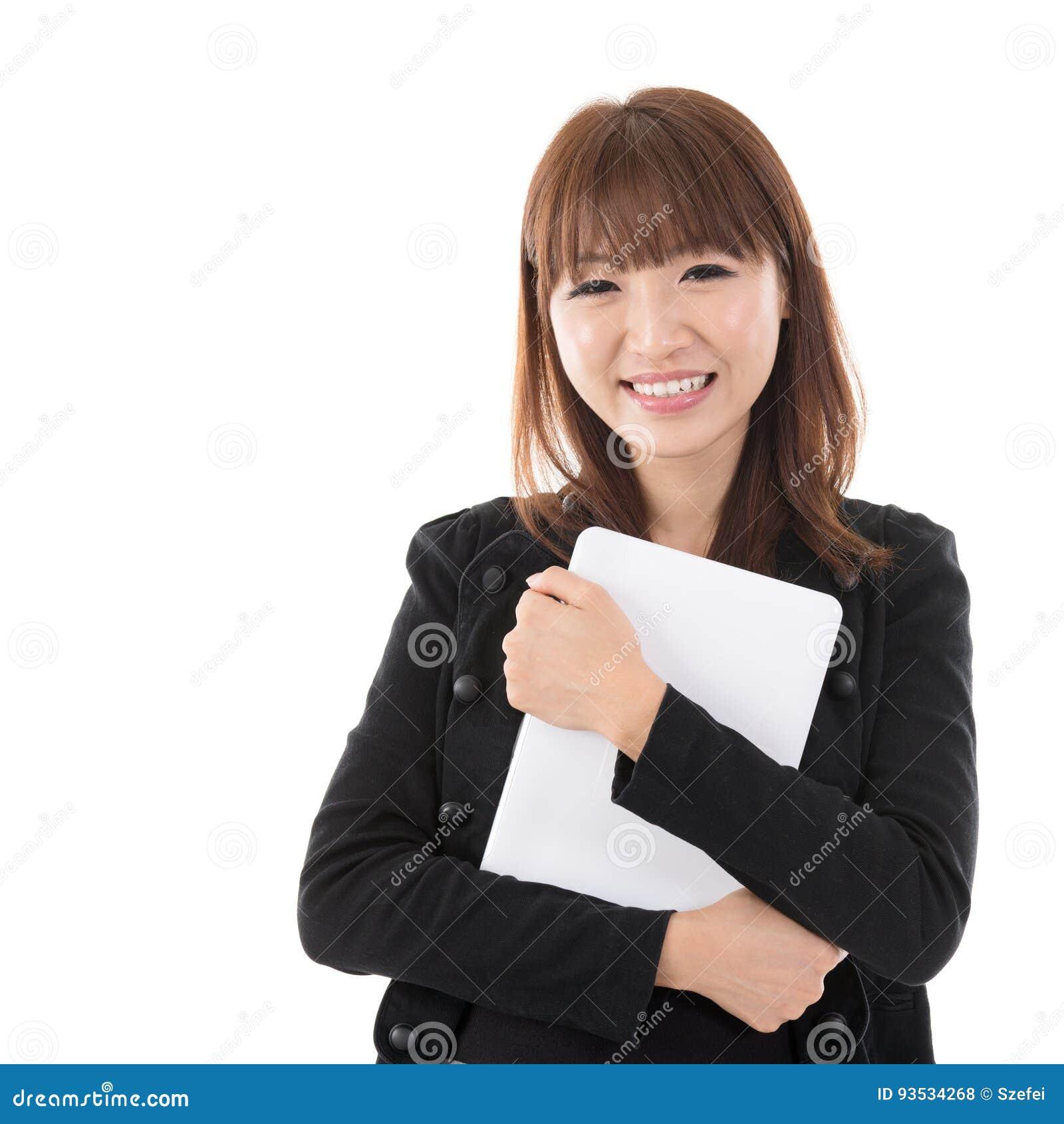 Femme avec le comprimé d ordinateur