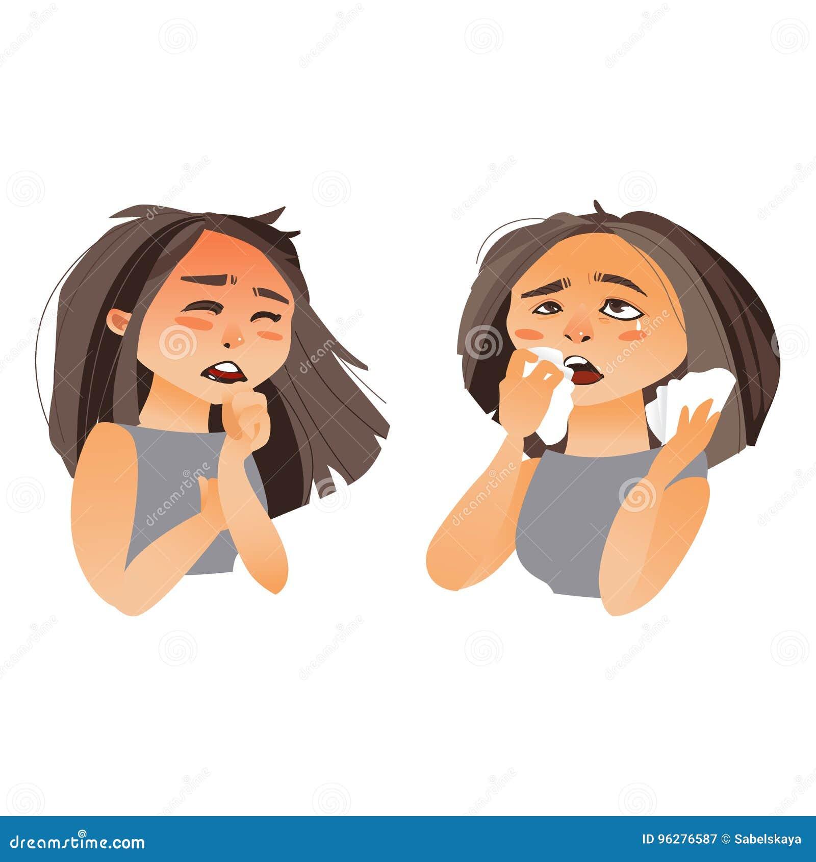 femme ayant des sympt mes de grippe coulement nasal toux illustration de vecteur. Black Bedroom Furniture Sets. Home Design Ideas