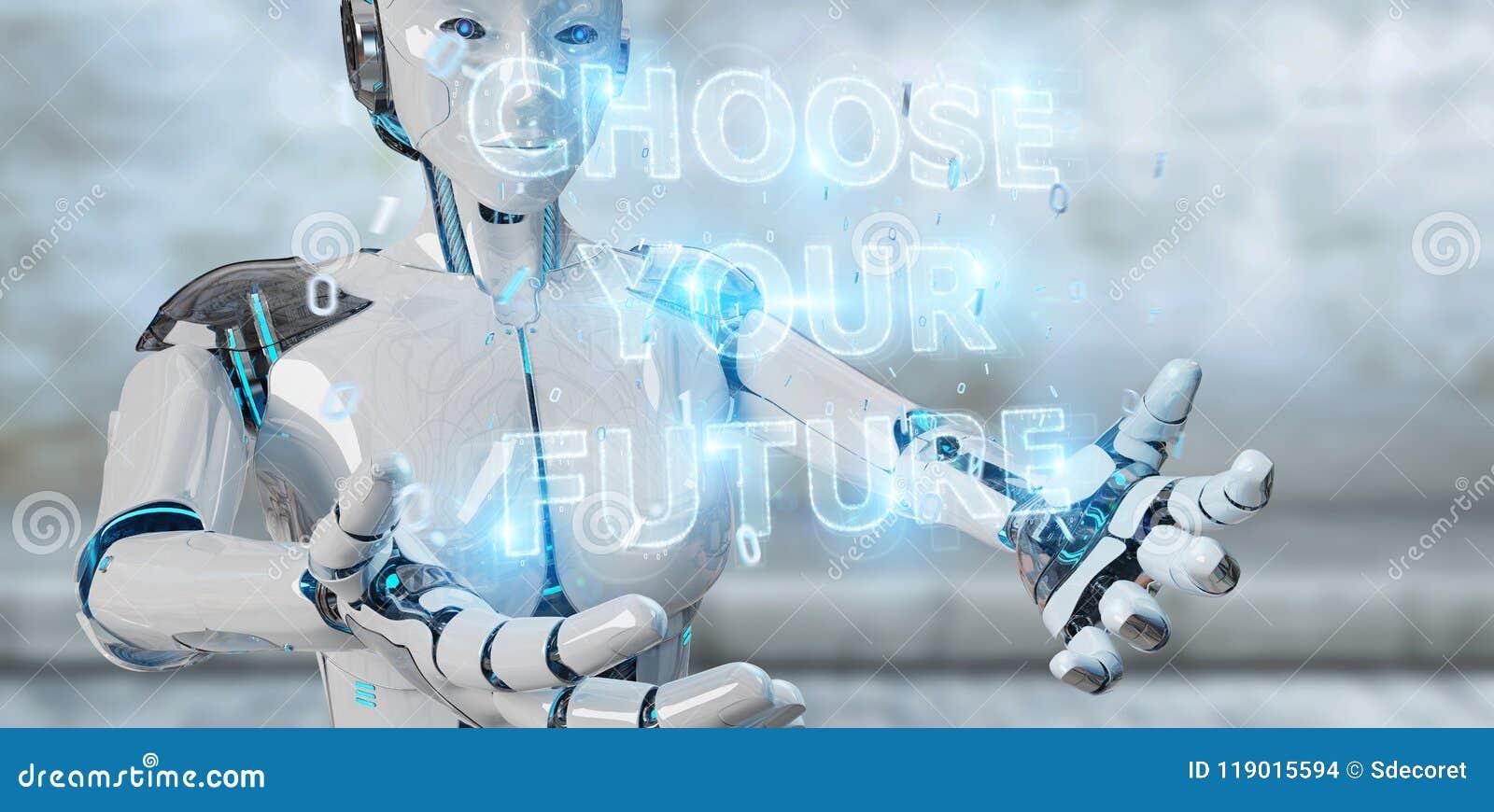 Femme blanche de cyborg employant le rende de l interface 3D des textes de future décision
