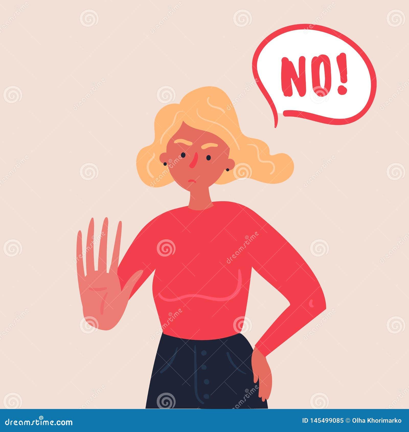 Femme blonde exprimant le démenti NON avec sa main