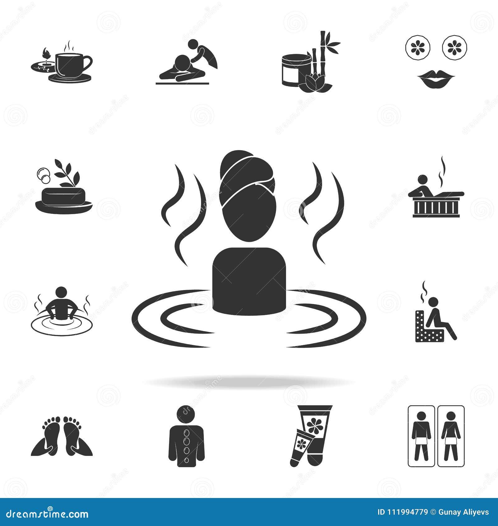Femme détendant dans l icône de l eau Ensemble détaillé d icônes de STATION THERMALE Conception graphique de qualité de la meille
