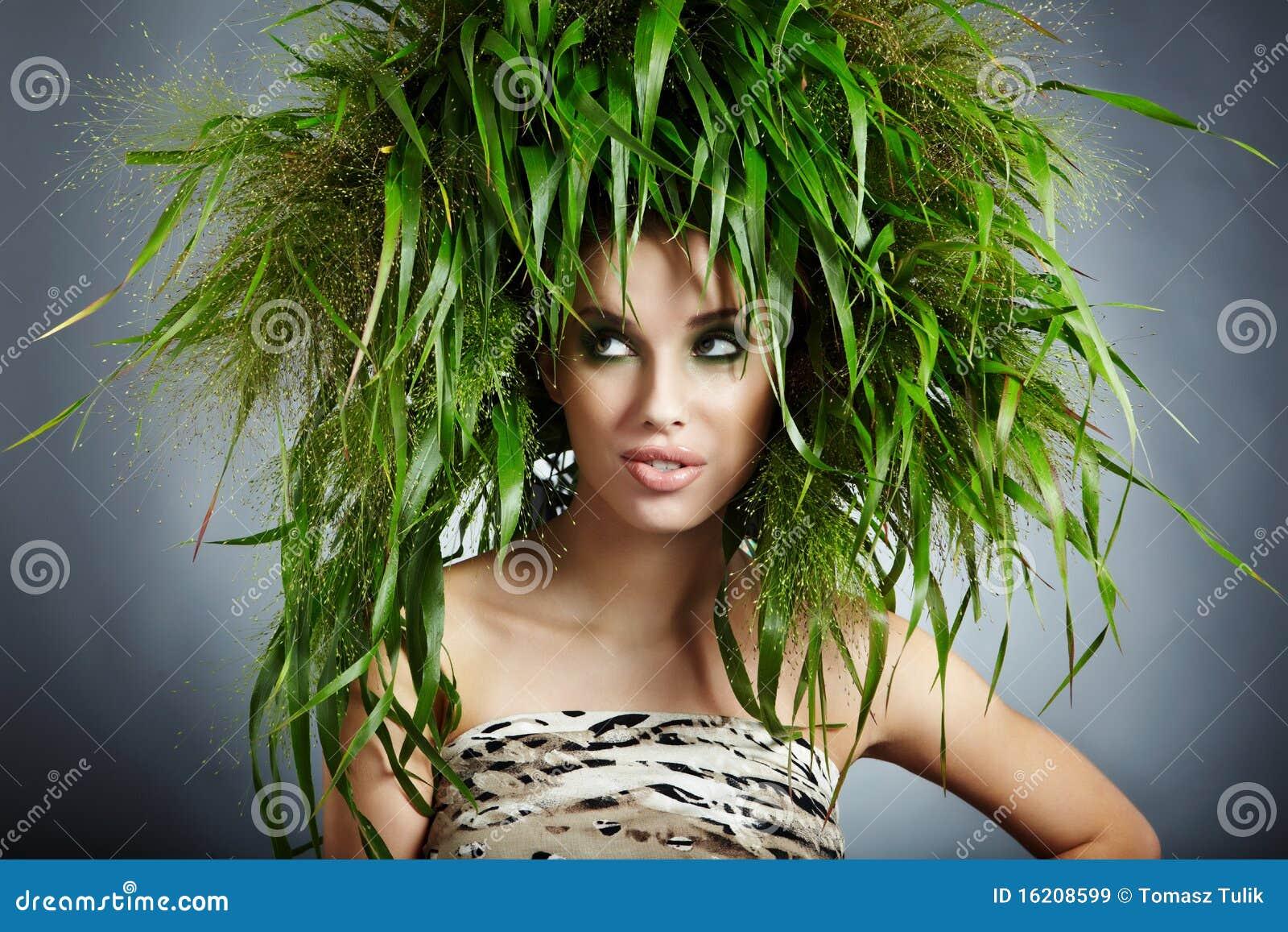 Femme d écologie, concept vert