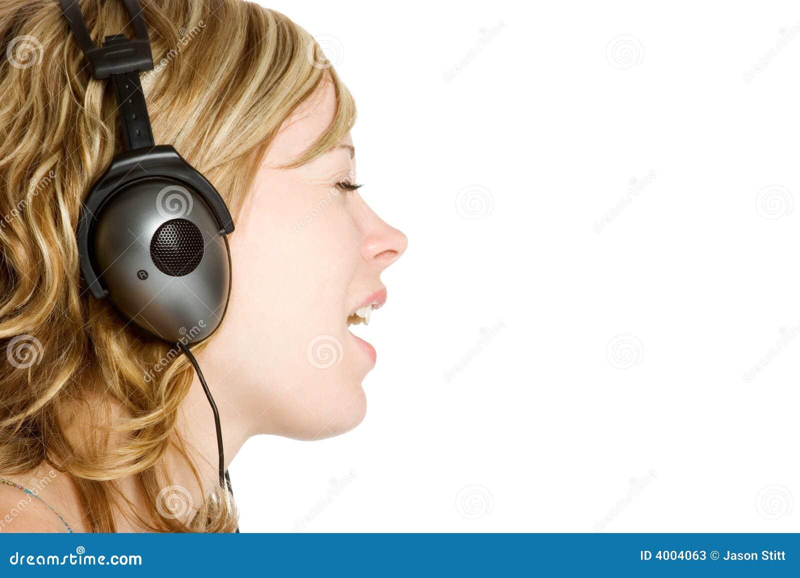 Femme d écouteurs