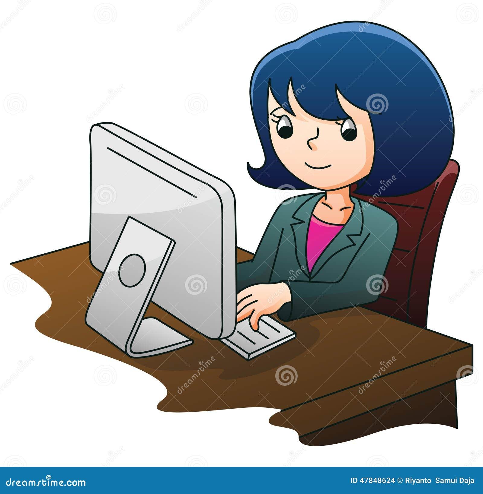 Femme D'affaires à L'aide De L'ordinateur Illustration de Vecteur - Illustration du ordinateur, aide: 47848624