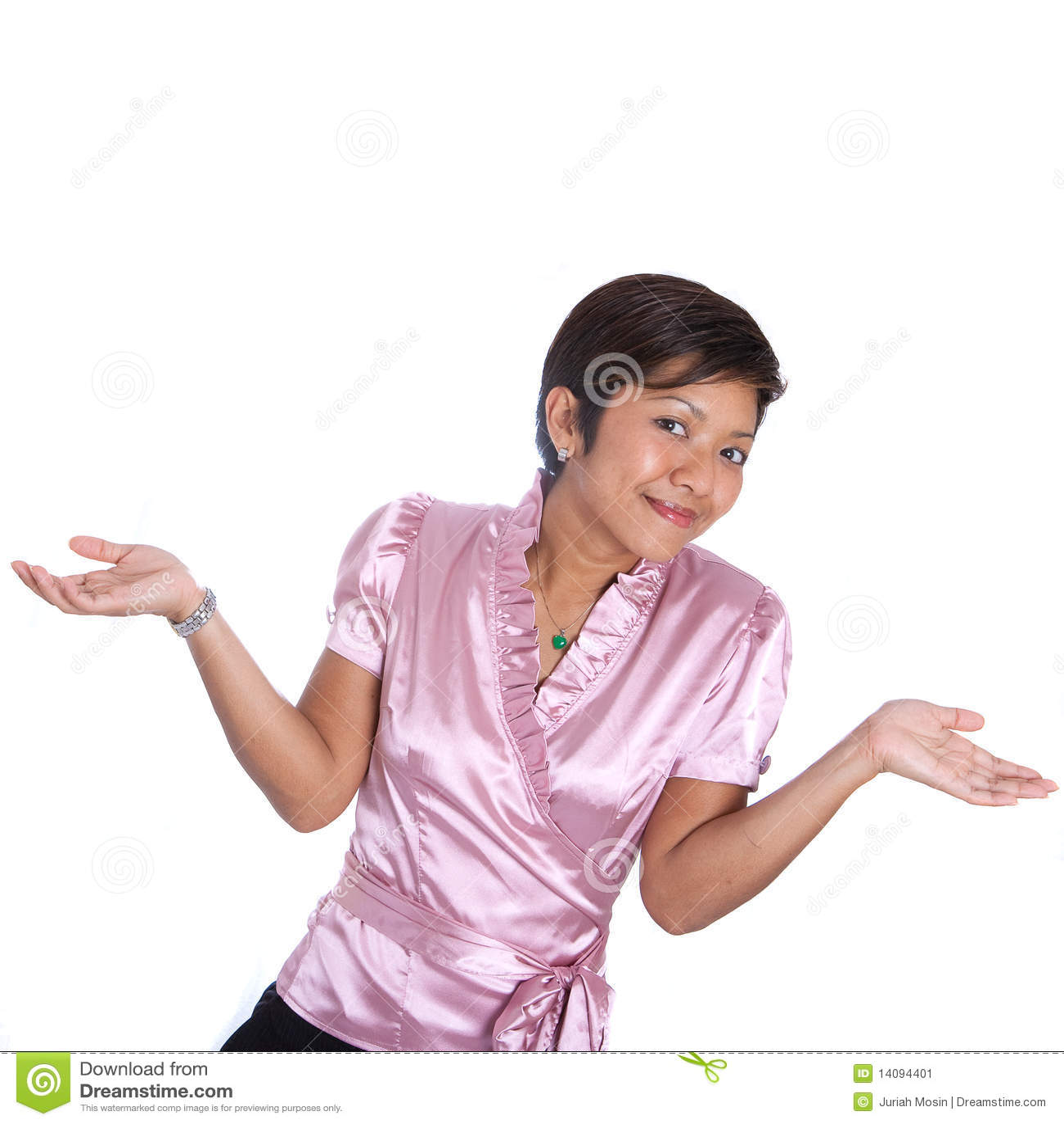 Femme d affaires asiatique gesticulant l épaule