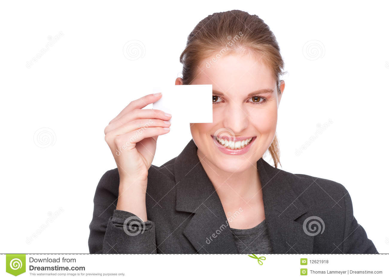 Femme d affaires avec la carte de visite professionnelle de visite