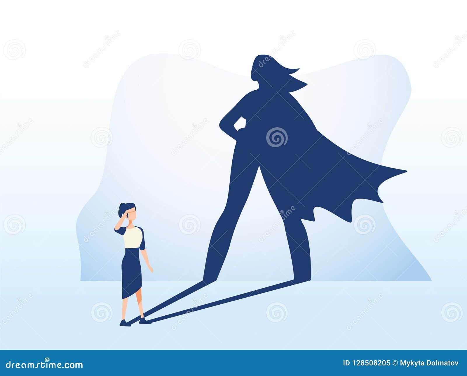 Femme d affaires avec le concept de vecteur d ombre de super héros Symbole d affaires de l ambition, du succès et de la motivatio