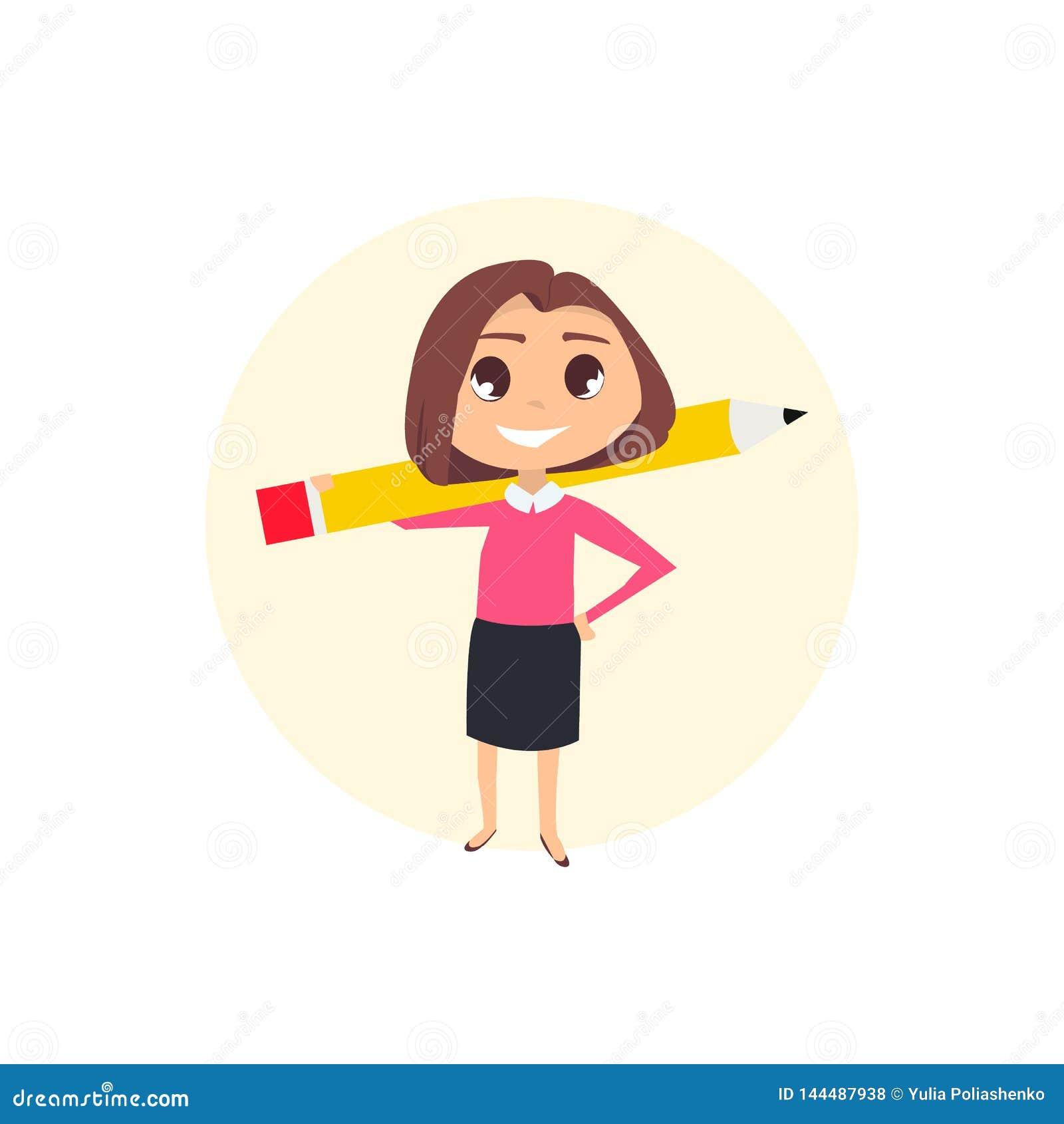 Femme d affaires avec le crayon