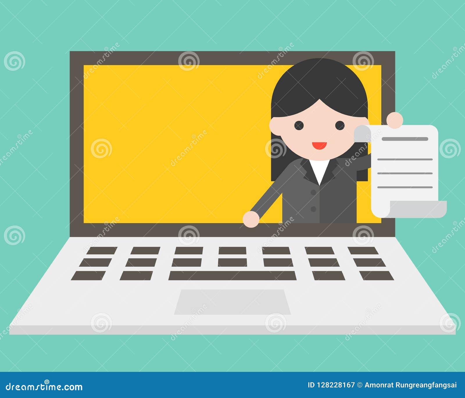 Femme d affaires dans l écran d ordinateur portable envoyant le document, exploitation en ligne