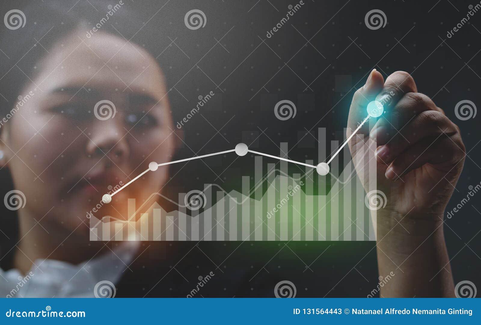 Femme d affaires Drawing Growing Statistic financier