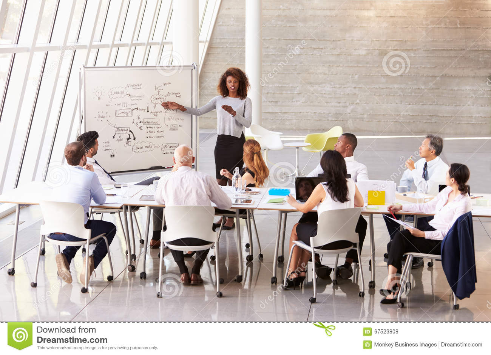 Femme d affaires Leads Boardroom Meeting d afro-américain