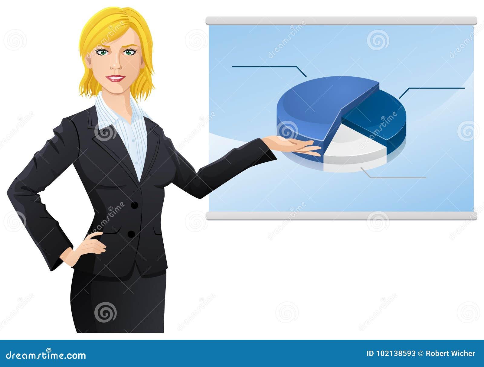 Femme d affaires montrant des données sur le tableau de conférence
