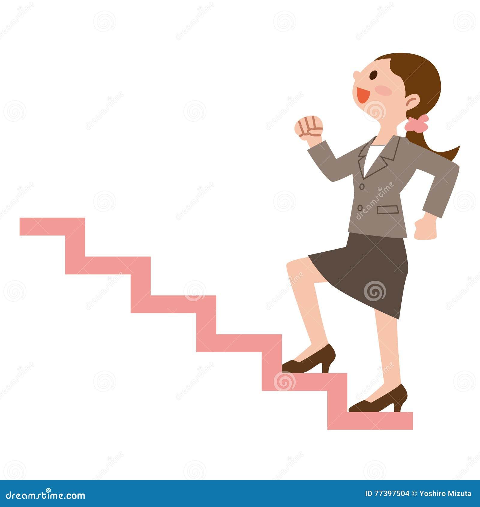 femme d 39 affaires pour monter les escaliers illustration de vecteur illustration du carri re. Black Bedroom Furniture Sets. Home Design Ideas