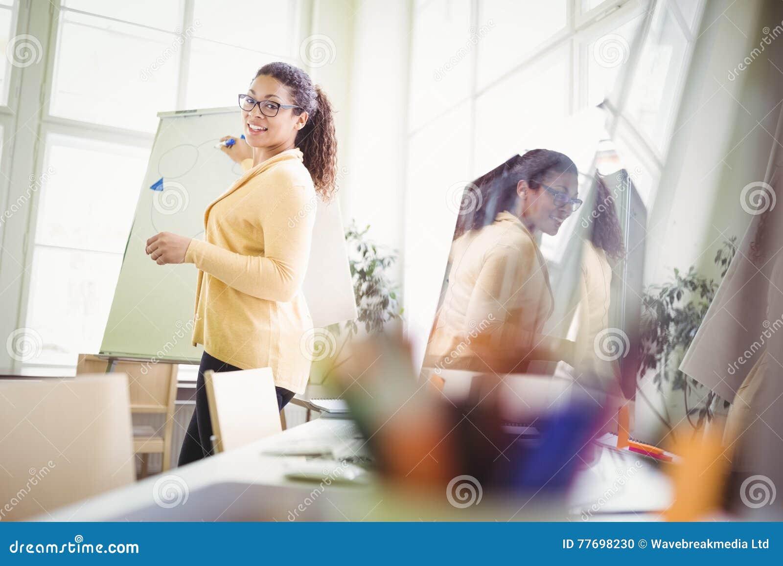 Femme d affaires présentant l exposé sur le tableau blanc dans le