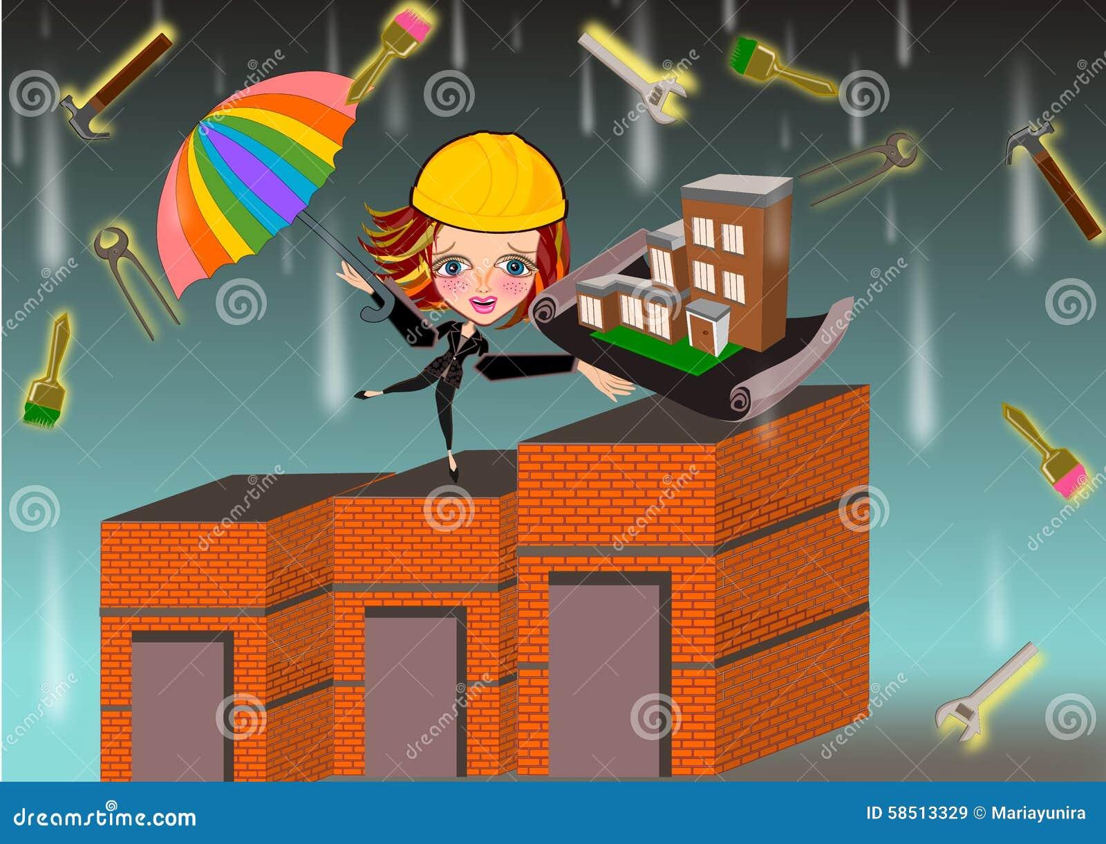 Femme d 39 architecte sous la pluie d 39 outils de travail for Outils architecte
