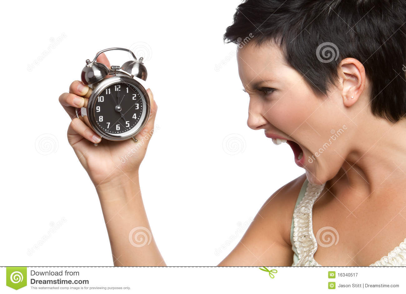 Femme d horloge d alarme
