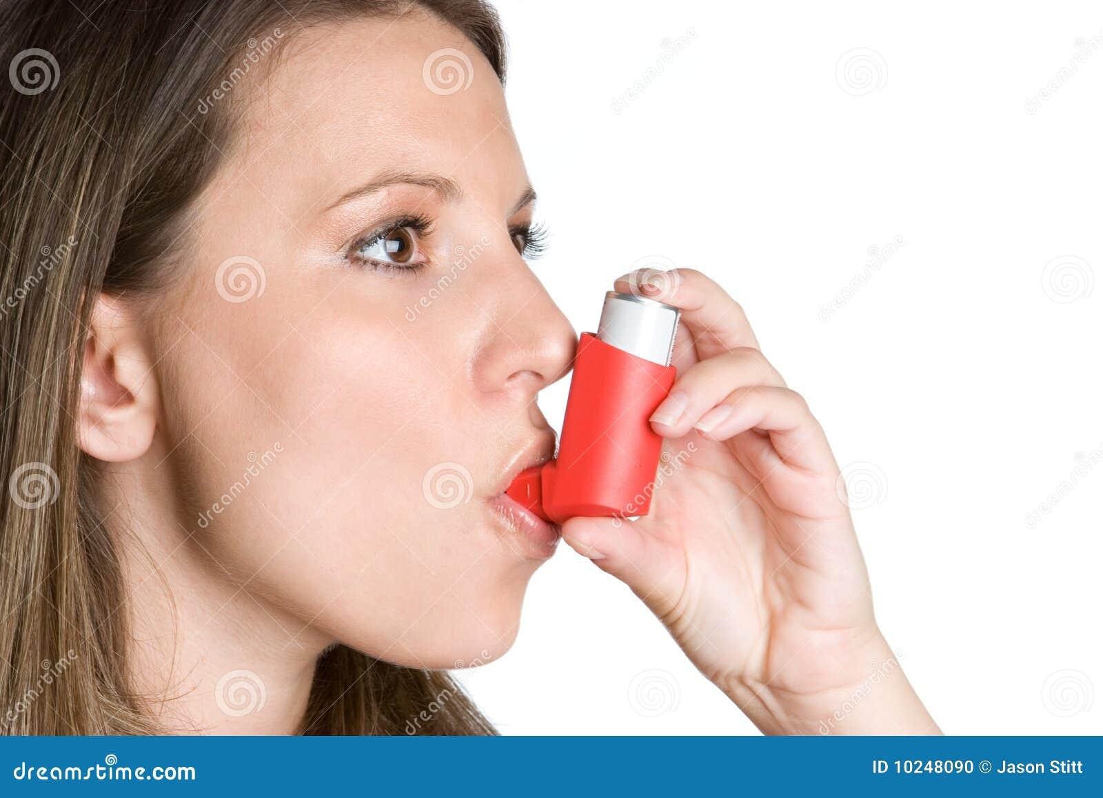 Femme d inhalateur