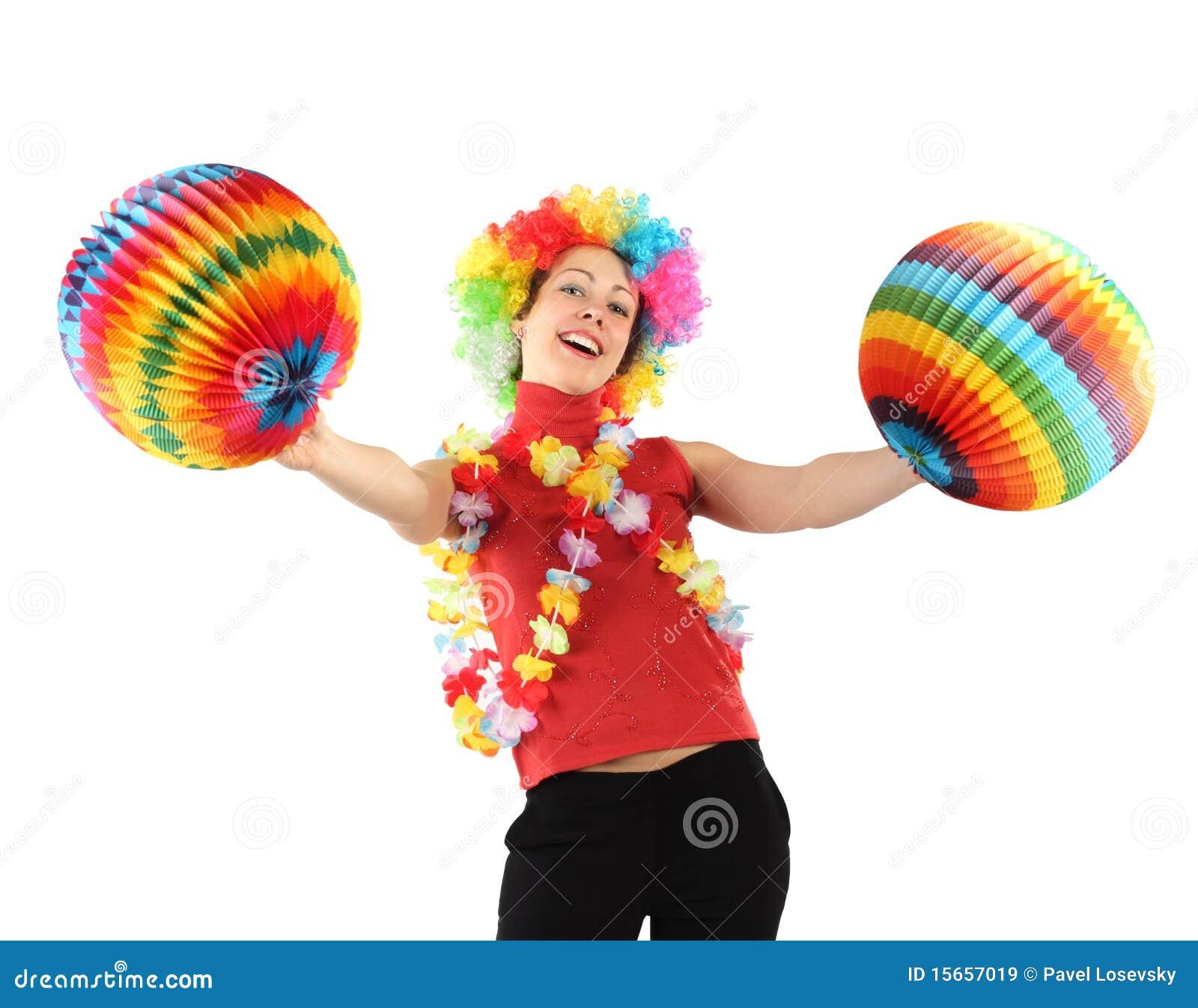 femme dans la perruque de clown la guirlande de fleur et les billes images libres de droits. Black Bedroom Furniture Sets. Home Design Ideas