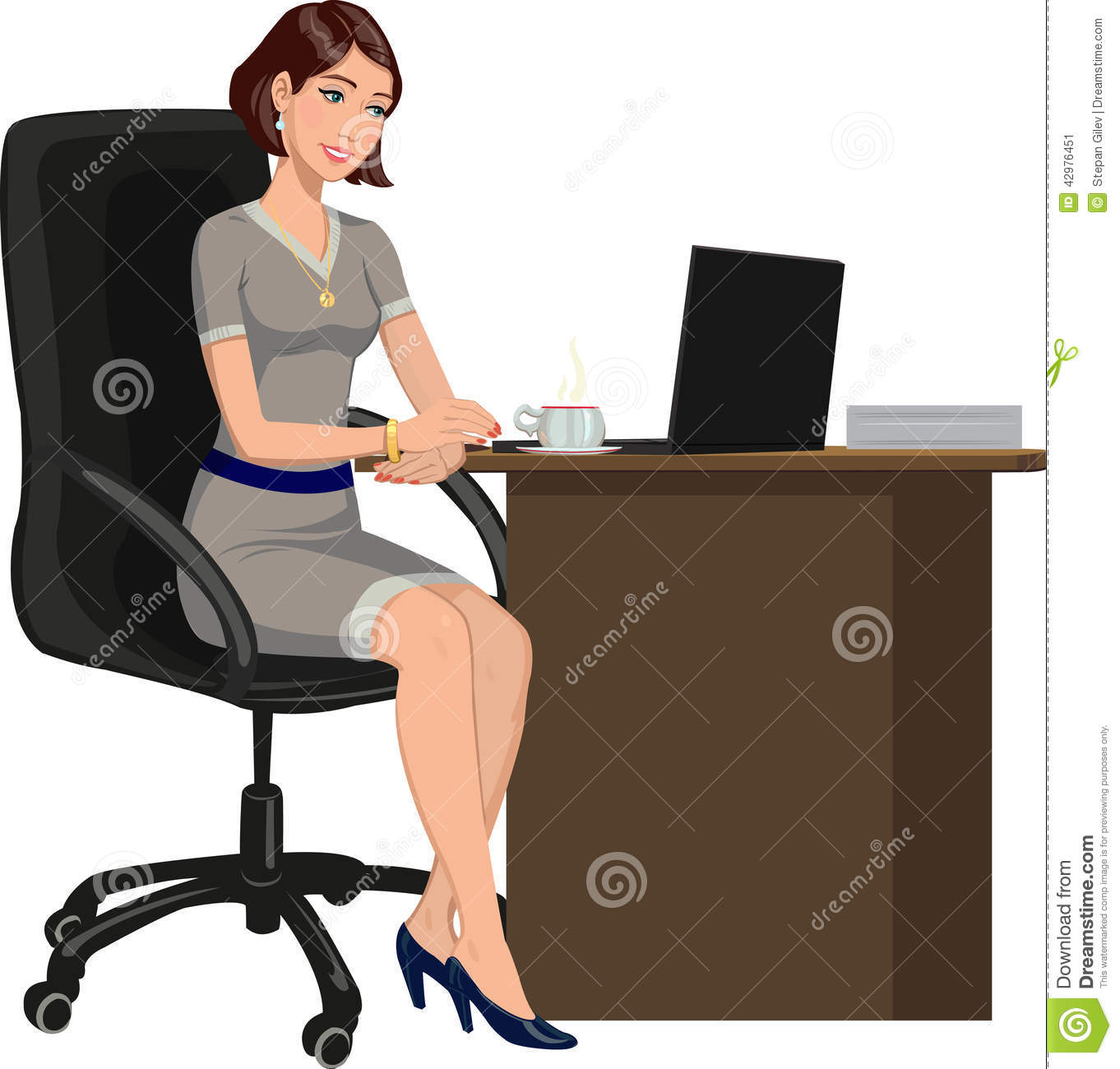 Femme de bureau derri re un bureau avec un ordinateur portable illustration de vecteur image for Photos gratuites travail bureau