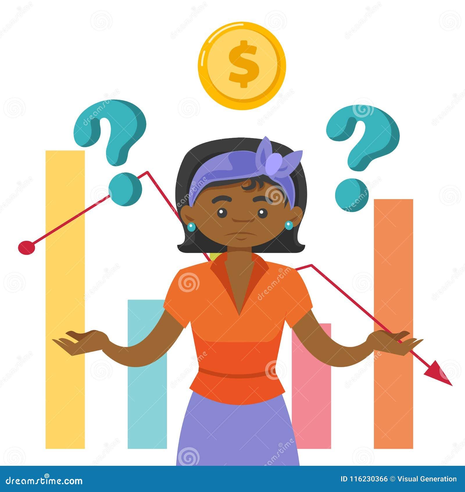 Femme de couleur dans l effort en raison de la crise du marché