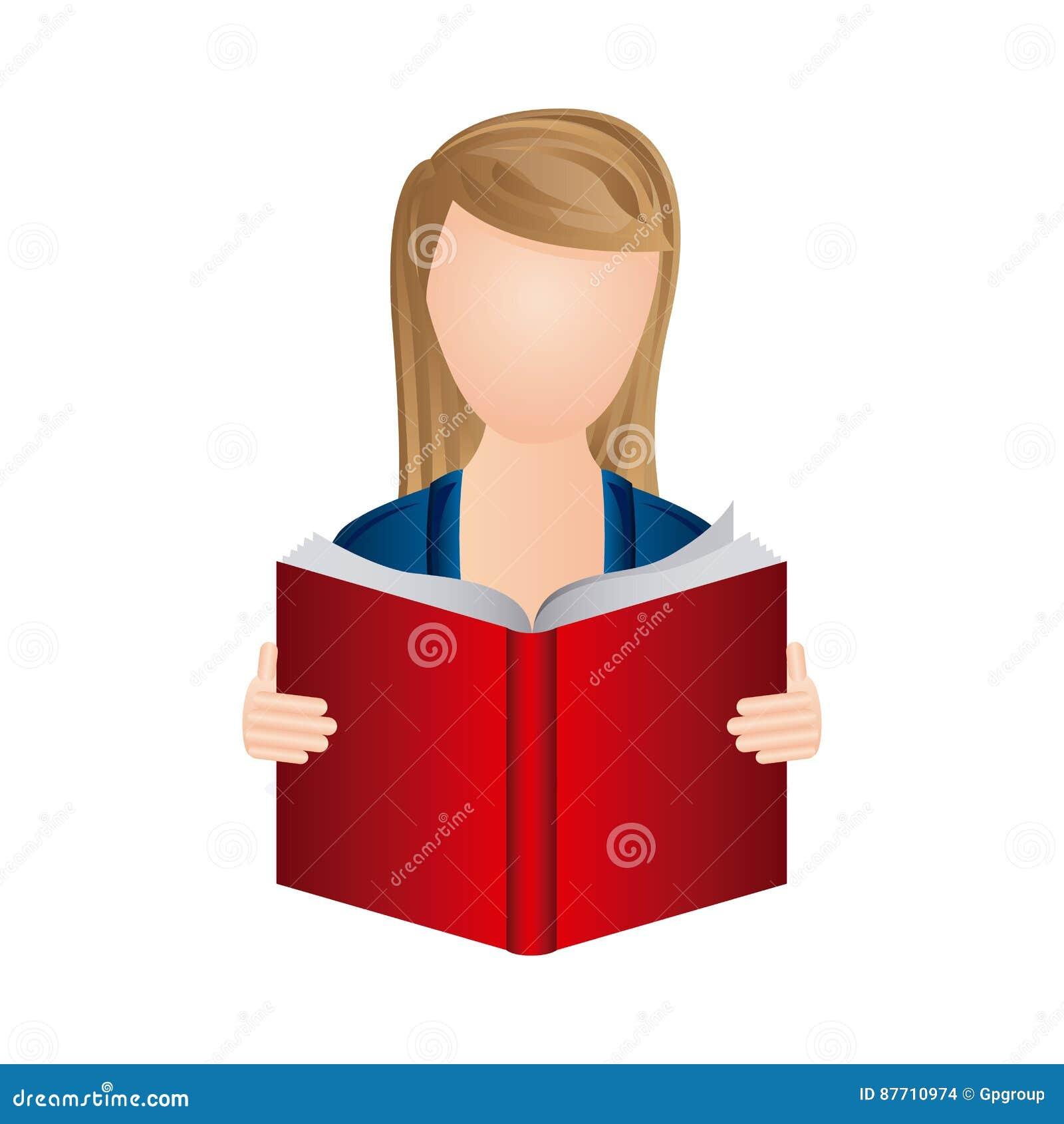 Femme De Couleur Pour Lire Une Icone De Livre Illustration