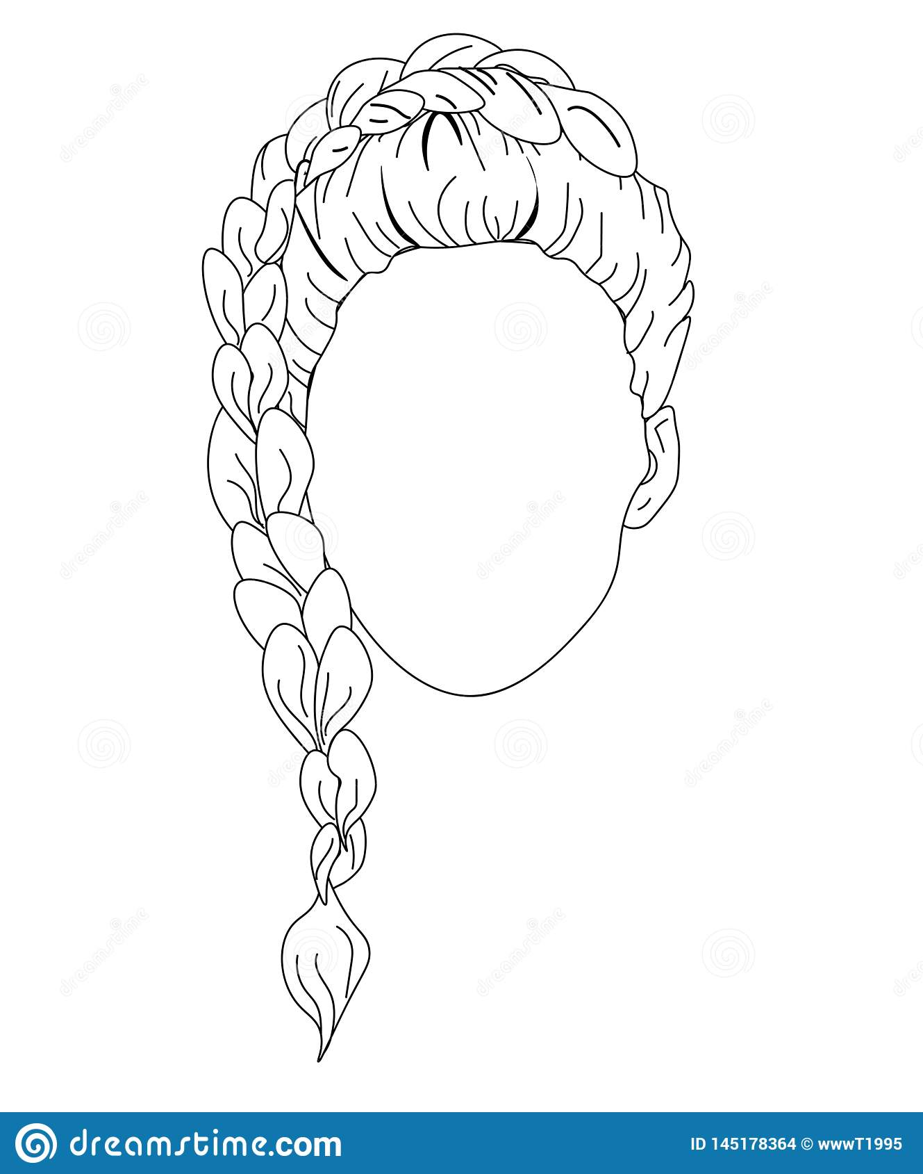 Femme de croquis de femme de mode de Web dans le chandail avec la coiffure de tresse Vecteur tiré par la main de visage de belle