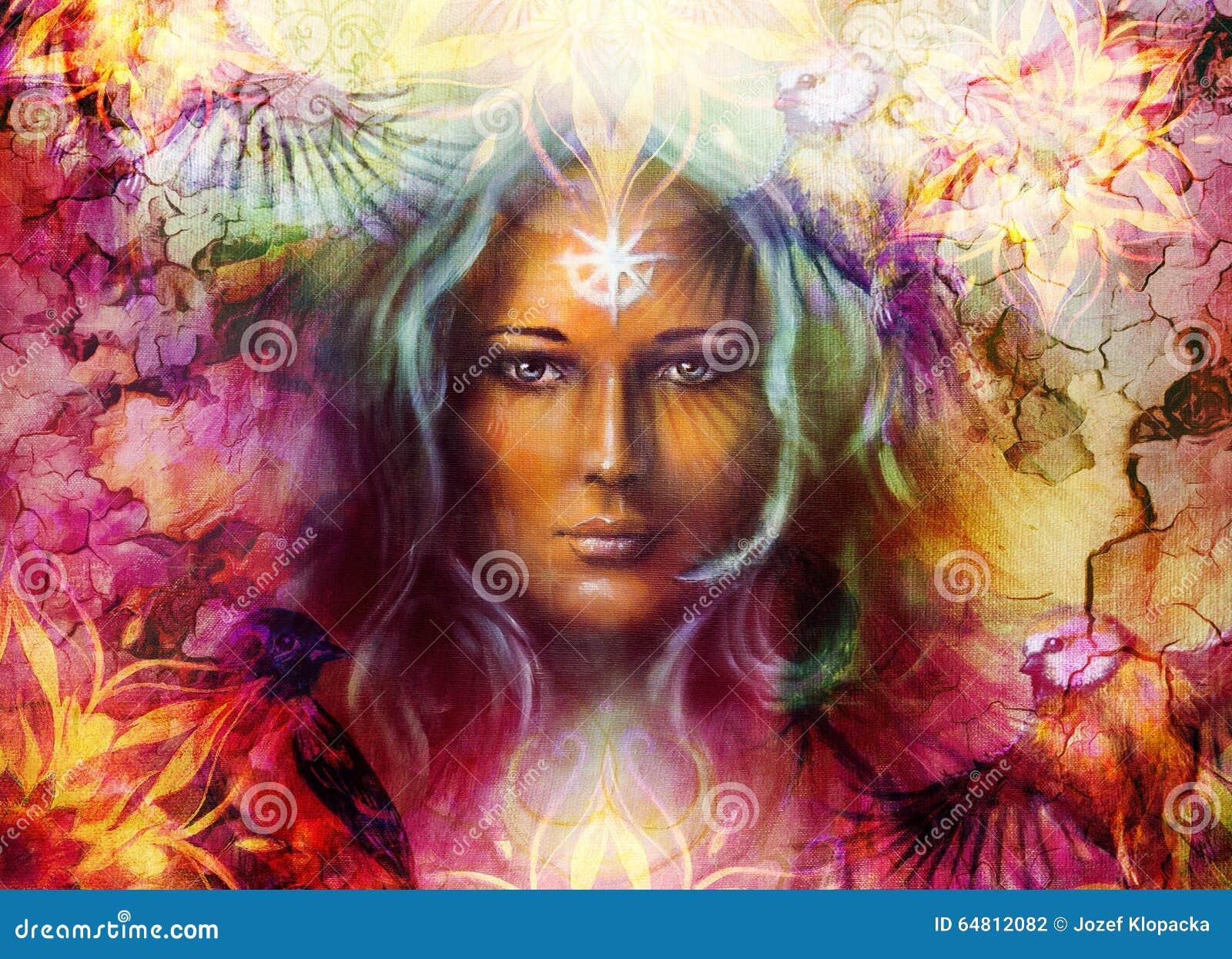 Femme de déesse de belle peinture avec l ornamental