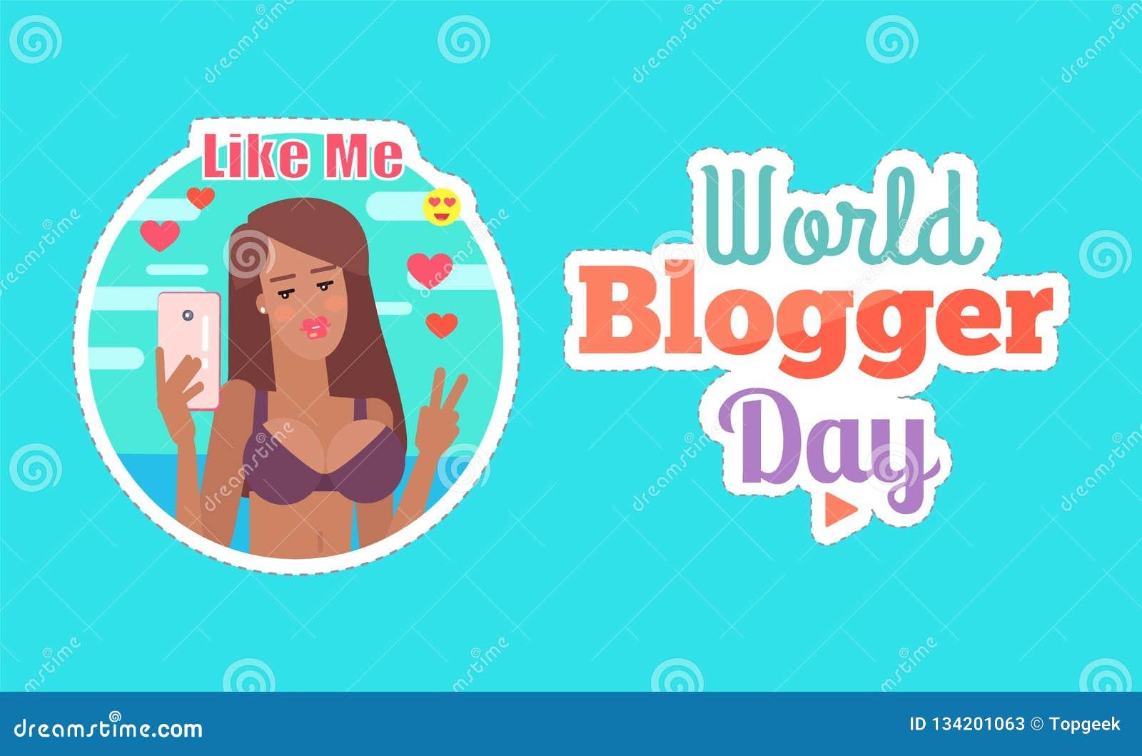 Femme de jour de Blogger du monde avec le vecteur d affiche de téléphone