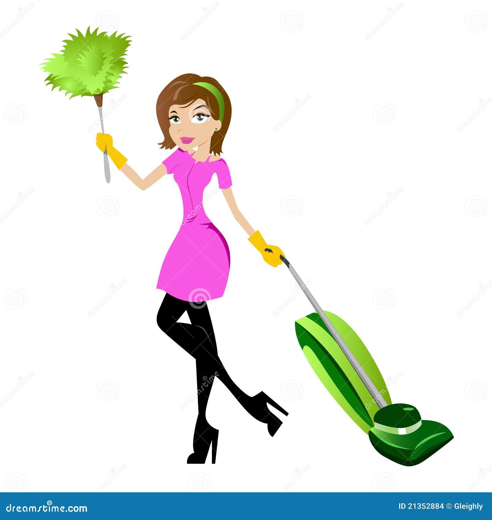 femme de m nage illustration de vecteur illustration du vacuuming 21352884. Black Bedroom Furniture Sets. Home Design Ideas