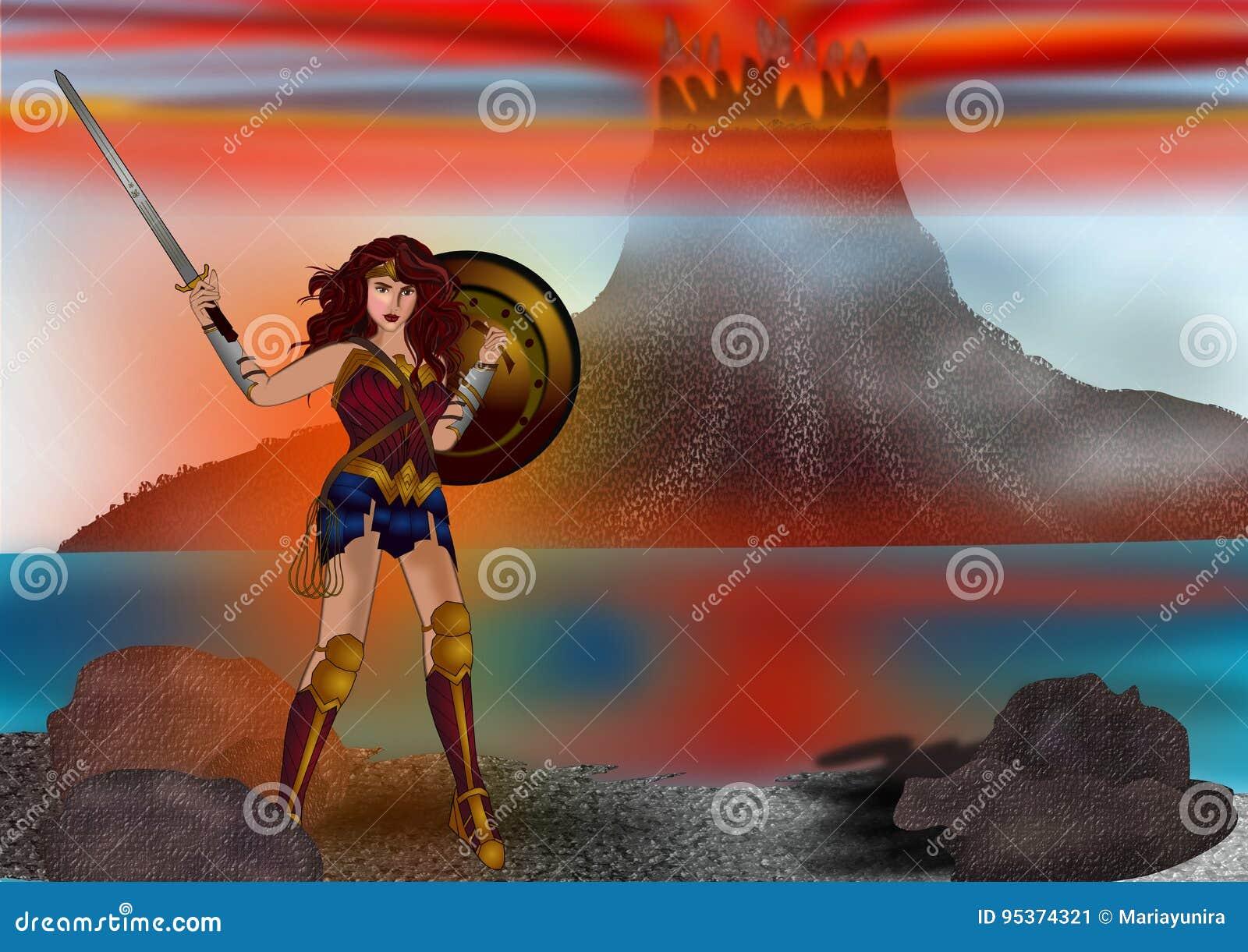 Femme de merveille et le fond de montagne