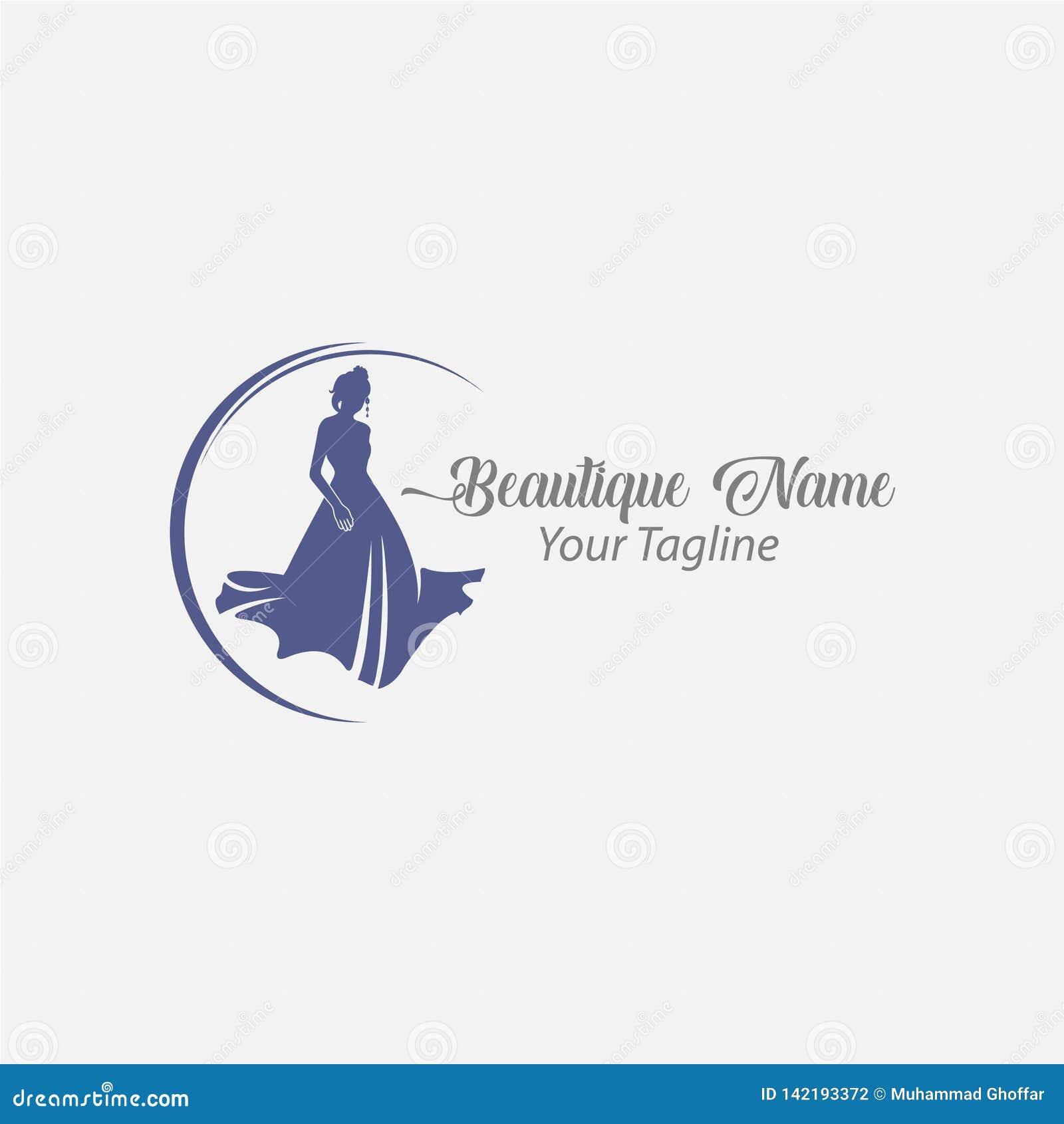 Femme de mode de logo de magasin, diva de silhouette de bleu marine