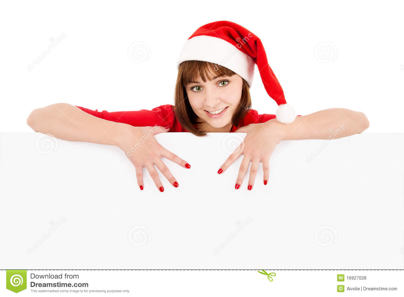 Femme de Santa se dirigeant sur le panneau-réclame blanc de signe