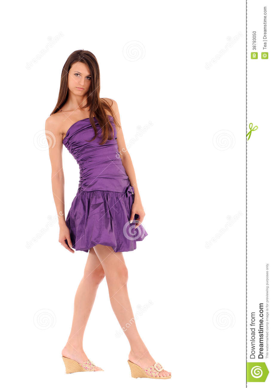 femme de sourire dans la robe violette photo stock image 38793050. Black Bedroom Furniture Sets. Home Design Ideas