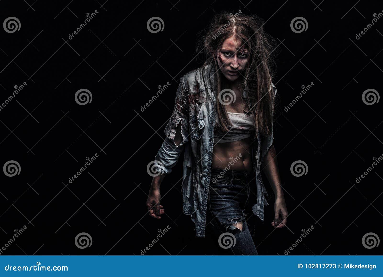 Femme De Zombi Fond D Horreur Pour Le Concept De Halloween