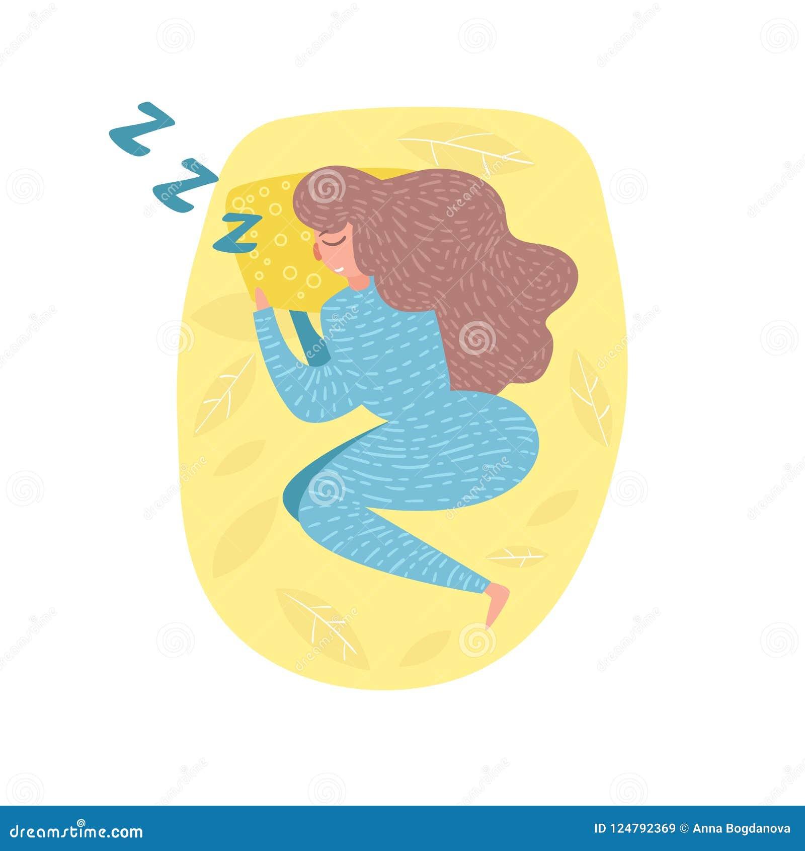 Femme dormant dans le vecteur de lit cartoon Art d isolement sur le fond blanc