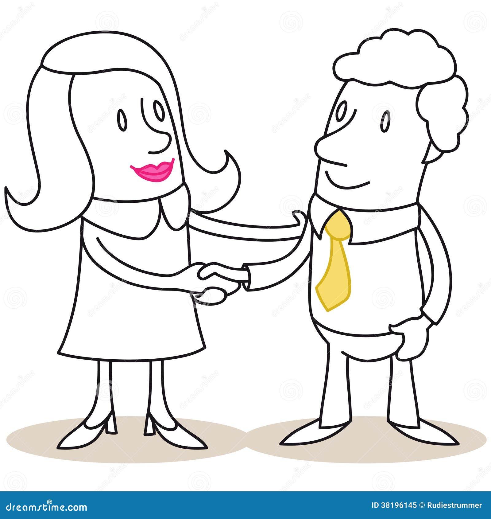 Femme et homme d 39 affaires se serrant la main illustration - Dessin de la main ...