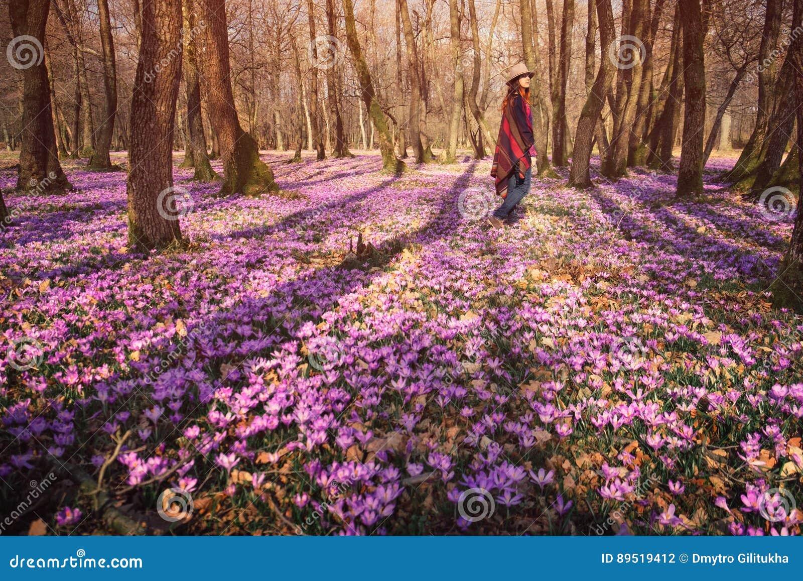 Femme heureuse appréciant les fleurs de nature et de crocus de ressort