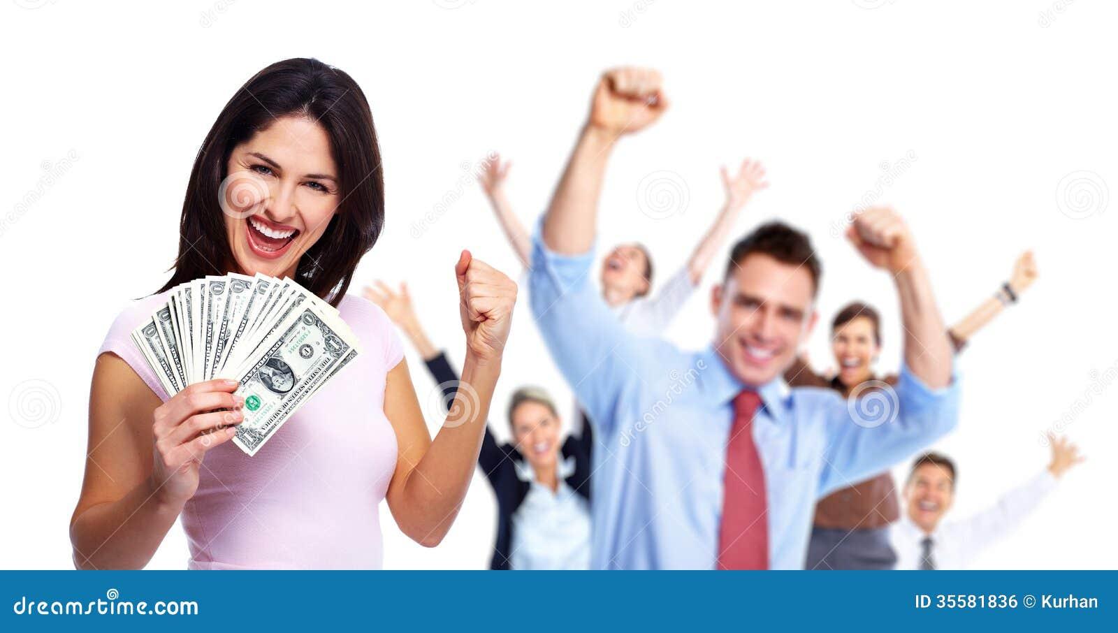 Femme heureux avec de l argent