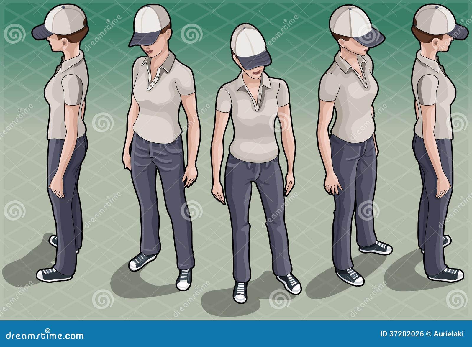 Femme isométrique de service en cinq positions