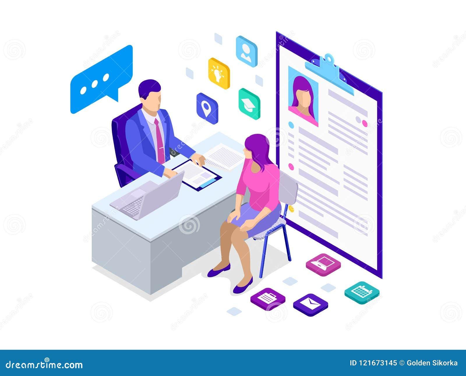 Femme isométrique pendant l entrevue d emploi Employé de bureau de sexe masculin dans le costume se reposant au bureau avec l ord