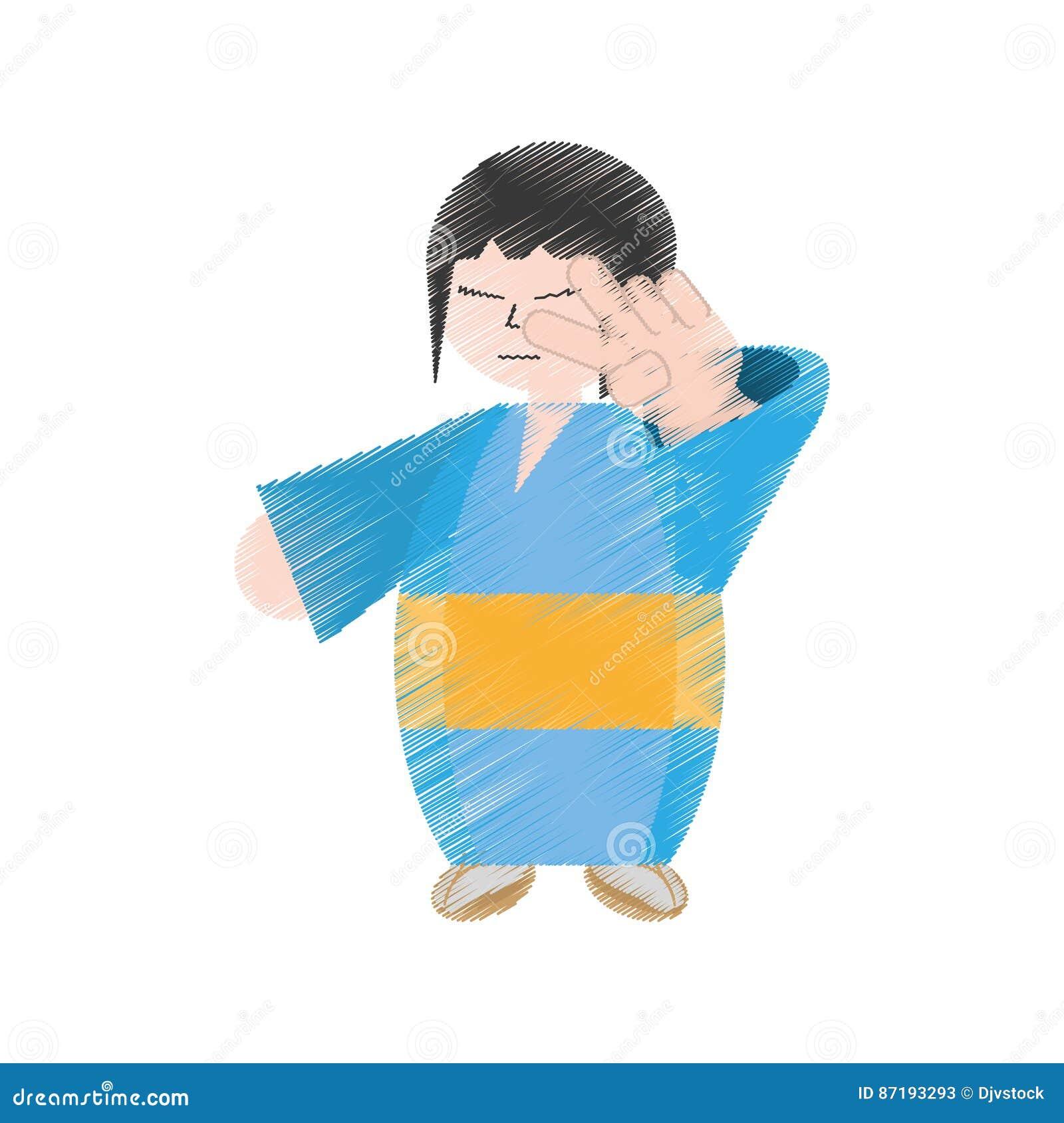 Femme Japonaise De Dessin Avec Le Kimono Illustration Stock