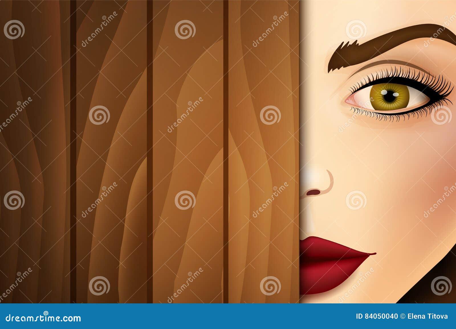 Femme jetant un coup d oeil du bureau en bois haut étroit de