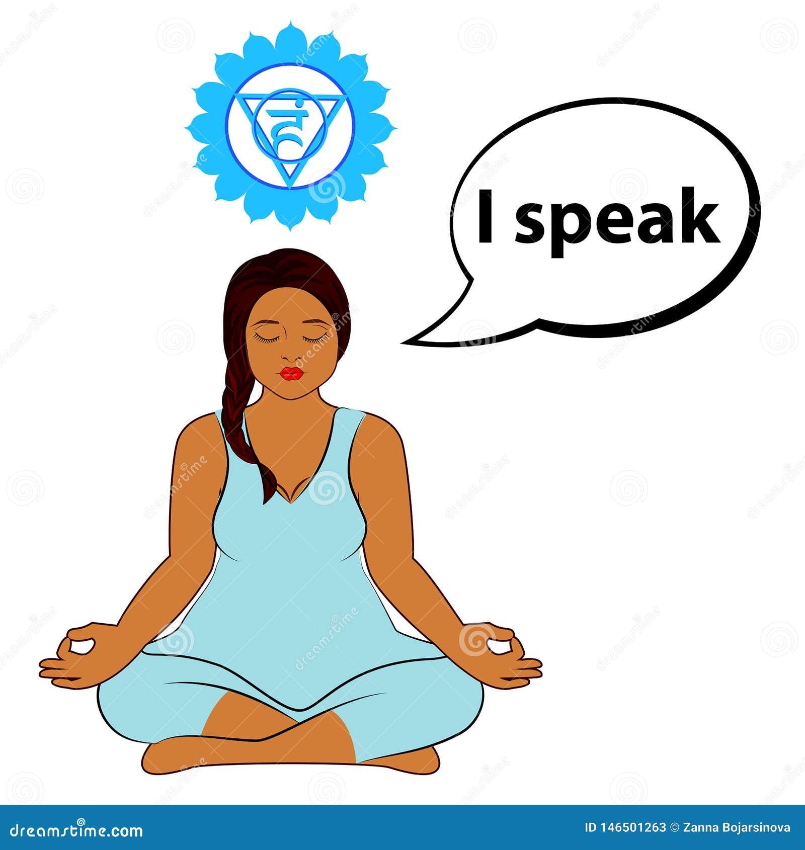 Femme m?ditant Je parle - l affirmation pour le chakra Vishuddha