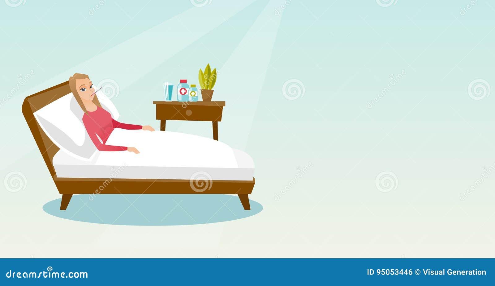 Femme malade avec le thermomètre s étendant dans le lit